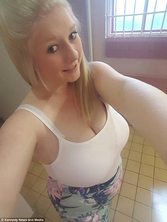 Beth Bamford, 21, from Stoke-On-Trent, Staffordshire, claims she had no idea she was pregnant and was stunned when she ended up giving birth alone in her bathroom (seen when she was unknowingly a few months pregnant)