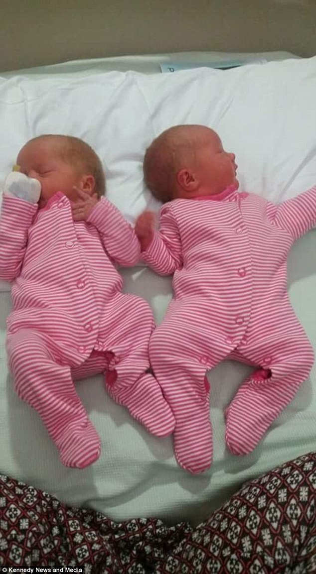 Beth gave birth to 5lb 10oz daughter Willow and Freya, 5lb 1oz, as her boyfriend lay sleeping across the landing